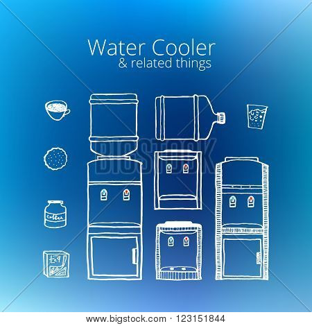 Water cooler. Vintage style, hand drawn, pen and ink. Retro handcrafted water cooler design element