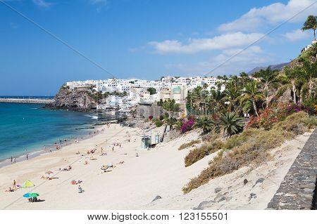 FUERTEVENTURA - OCTOBER 20: Morro Jable behind Jandia Beach and in Fuerteventura, Spain on October 20, 2013