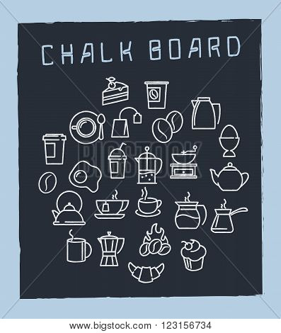 Vector linear icons for café menu with tea and coffee