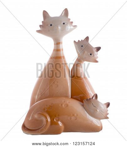 ceramic figurines of the family of the the cats