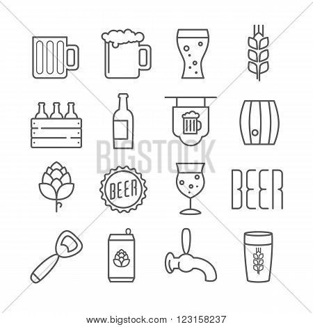 Vector linear beer icons foe print menu web design or infographics
