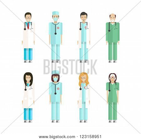 Stock vector set of isolated characters, doctors, nurses, male nurse, ambulance staff, therapists of polyclinics, medical staff of clinics in flat style  for icons, websites, printed materials