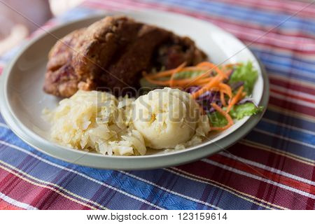 German Pork Knuckle Hocks With Mashed Potatoes
