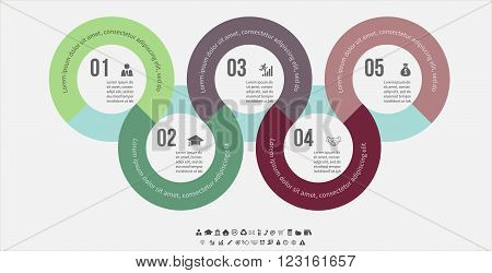 Vector infographic template. Design business concept for presentation, graph and diagram. 5 options, parts, steps or processes. Vector EPS10.