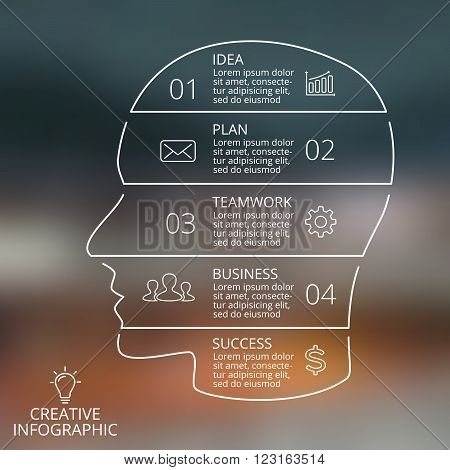 Vector brain linear blur infographic. Template for human head diagram, graph, presentation, face chart. Business idea concept with 4, 5 options, parts, steps or processes. Brainstorming.