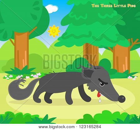 The three little pigs tale vector, hungry exhausted wolf goes away