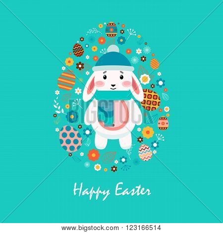 Stock vector illustration Happy Easter bunny cap pompon, scarf, colored Easter egg, spring decoration, leave, flowers in flat style on blue background to printed materials, website, postcard, greeting