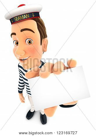 3d seaman holding company card isolated white background