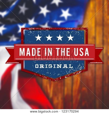 Made in the USA sign on USA flag background