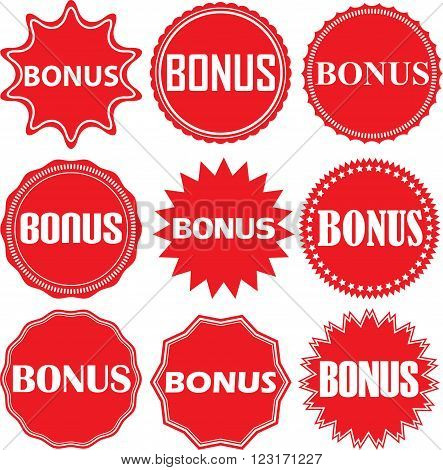 Bonus Signs Set, Bonus Sticker Set, Vector Illustration