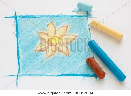 Simple flower drawing with pastel on the page. poster
