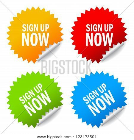 Sign up now stickers set isolated on white background