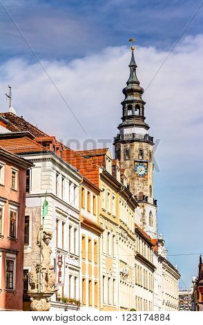 Foutain and old town houses in the city of Gorlitz