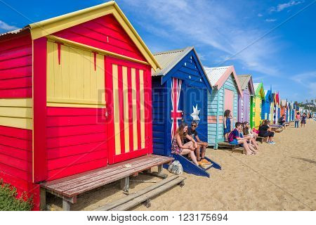 MELBOURNE, AUSTRALIA - FEBRUARY 11: Brighton Beach Boxes on February 11, 2016 in Melbourne.  Brighton Beach Boxes are one of the most iconic structures of Melbourne.