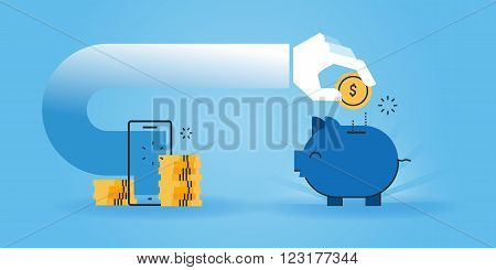 Flat line design website banner of saving money while shopping online, cheap online shopping. Modern vector illustration for web design, marketing and print material.