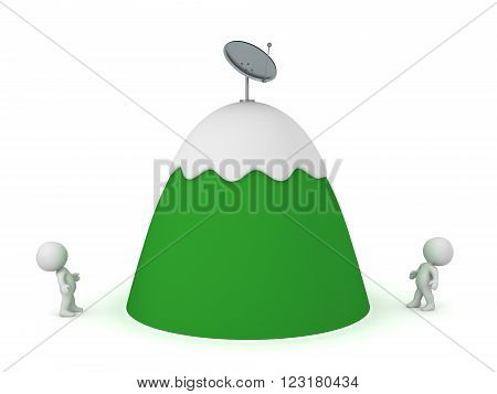 3D characters looking up at a cartoonish mountain with a parabolic antenna dish on top. Isolated on white background.