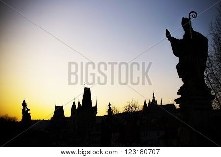 Statue On The Charles Bridge (karluv Most, 1357), A Famous Historic Bridge That Crosses The Vltava R