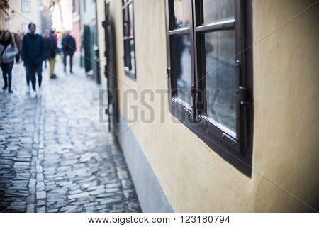 Homes Along The Golden Lane In Prague Castle, Full Of Tourist