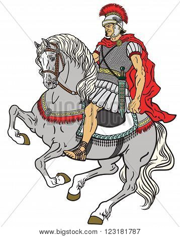 roman warrior riding the horse isolated on white