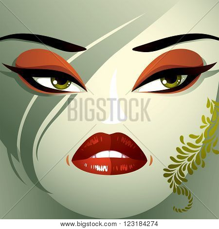 Cosmetology theme image. Young pretty lady with fashionable haircut. Human eyes lips and eyebrows reflecting a facial expression anger and contempt.