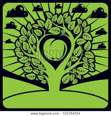 Vector Illustration Of Tree With Leaves And Branches In The Shape Of Heart With An Apple Inside Plac
