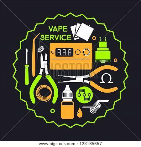 Vector illustration of vape service. Vape icons set Isolated on black background