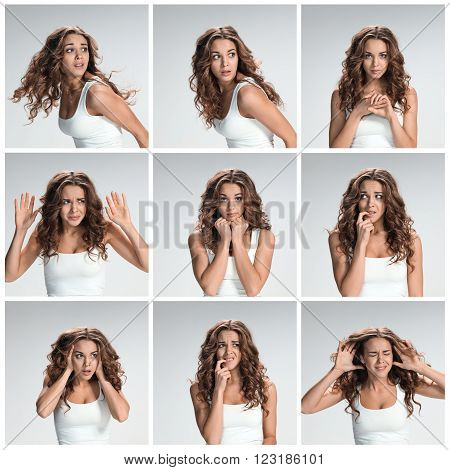 The collage from portraites of disgusted and disaffected woman on gray background
