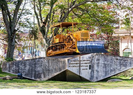 SANTA CLARA, CUBA - February 05 2008 Monument to the derailment of the armored train by Che Guevara led troops. Original caterpillar bulldozer used to break the rails.