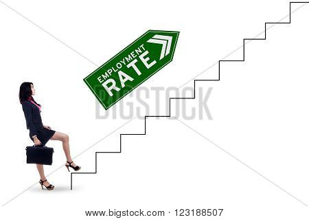 Picture of female job seeker carrying briefcase and walking on the stairs with employment rate text isolated on white background
