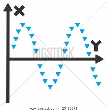 Dotted Sine Plot vector icon. Dotted Sine Plot icon symbol.