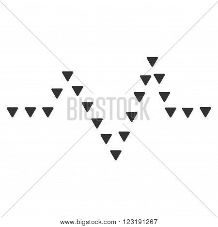 Dotted Pulse vector icon. Dotted Pulse icon symbol. Dotted Pulse icon image. Dotted Pulse icon picture. Dotted Pulse pictogram. Flat gray dotted pulse icon. Isolated dotted pulse icon graphic.