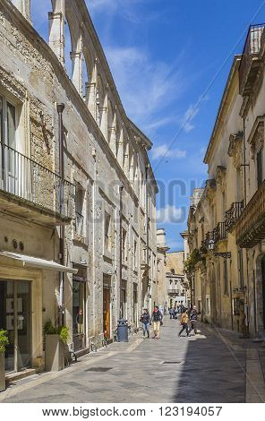 LECCE ITALY - April 19. 2015: Tourists visiting the city of Lecce