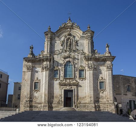 MATERA ITALY - April 20. 2015. Church of St. Francesco. Matera. Basilicata. Italy.
