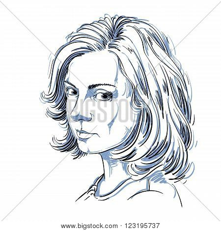 Artistic hand-drawn vector image black and white portrait of delicate melancholic peaceful girl. Emotions theme illustration. Attractive model.