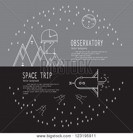 Banners space travel. Space icons modern line style vector. Cosmos icons isolated black background. Space series. Space exploration and adventure symbol.