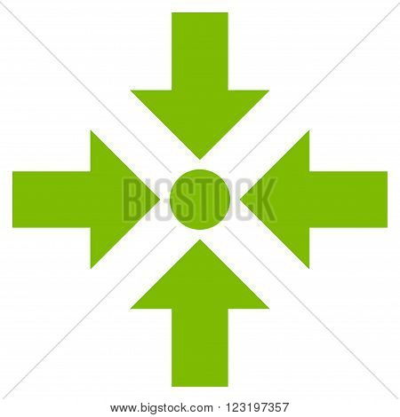 Shrink Arrows vector icon. Style is flat icon symbol, eco green color, white background.