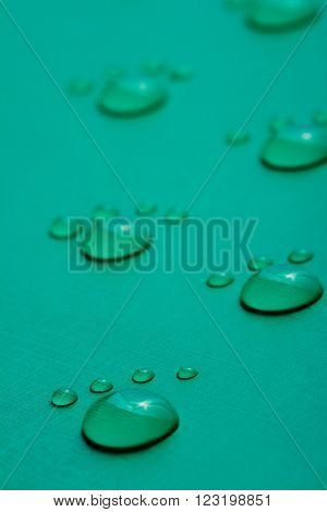 Footprints accomplished on the basis of drops of water on a green background