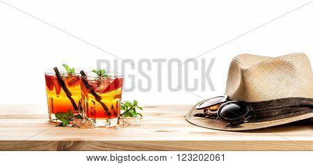 Red tropical drink. Campari aperol caipirinha sangria.