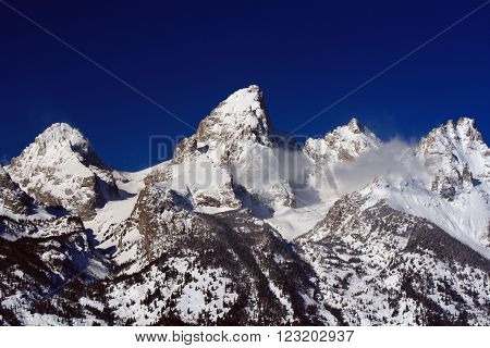 Grand Teton Peak in the Bridger-Teton National Forest in Grand Teton National Park in Wyoming USA
