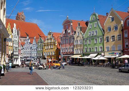 Landshut, Germany, September 17, 2015 - The old town of Lanshut