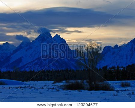 Grand Tetons Lenticular Cloud Twilight Sunset in Grand Tetons National Park in the state of Wyoming poster