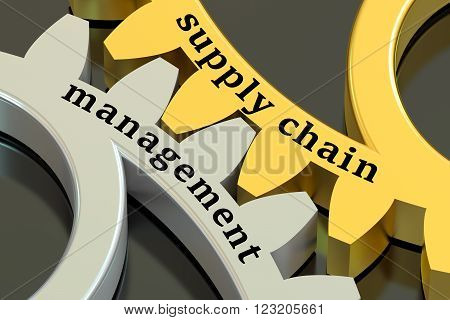 Supply Chain Management concept on the gearwheels 3D rendering
