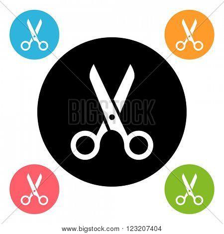 Round scissors icon isolated on white