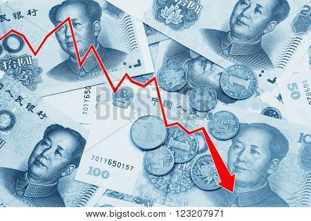 Graph illustrating the decline of the Chinese Yuan or RMB on the international market over a collage of Chinese money