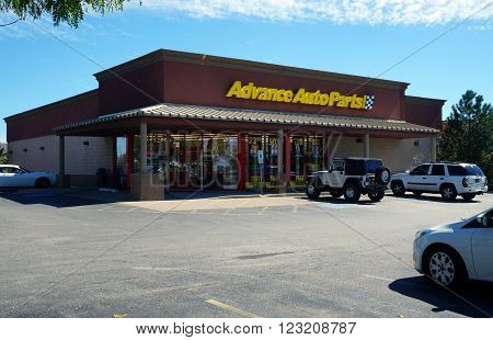 PLAINFIELD, ILLINOIS / UNITED STATES - SEPTEMBER 20, 2015: One may purchase automotive parts and supplies at the Advance Auto Parts store in Plainfield.