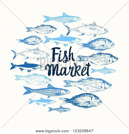 Round composition. Hand drawn fish. Blue design. Fish Market. Poster for seafood menu.