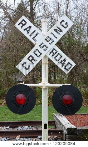 A old railroad crossing sign used for safety