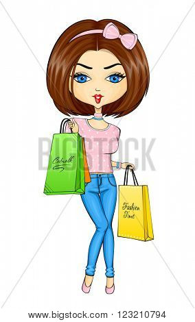 Vector illustration of shopping girl