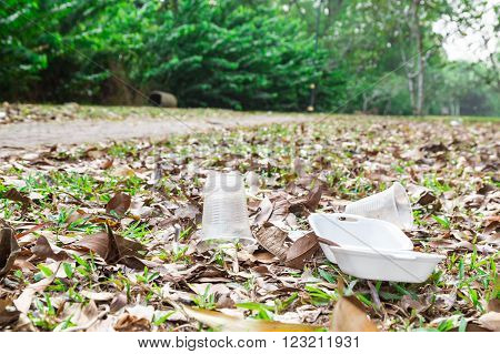 Environmental unfriendly non biodegradable pvc litter in public park present ecology issue