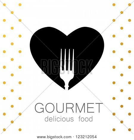 Heart with silhouette of a fork. Gourmet logo. Lovely food logo template. Template logo for restaurant, cafe, fast food, store food.
